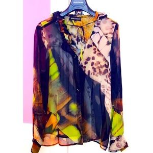 Monica Magni Sheer Silk Printed Blouse Sz 48